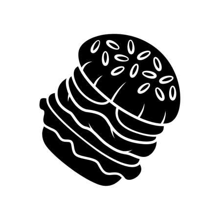 Burger glyph icon. Fast food cafe, restaurant, snack bar menu. Hamburger, cheeseburger, vegan burger. Sandwich, patty and sesame bun. Silhouette symbol. Negative space. Vector isolated illustration