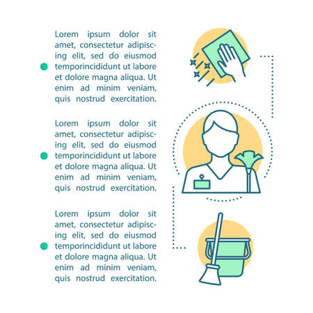 Cleaning services article page vector template. Household help. Brochure, magazine, booklet design element with linear icons and text boxes. Print design. Concept illustrations with text space