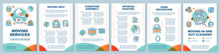 Moving services brochure template layout. Furniture assembly. Flyer, booklet, leaflet print design with linear illustrations. Vector page layouts for magazines, annual reports, advertising posters