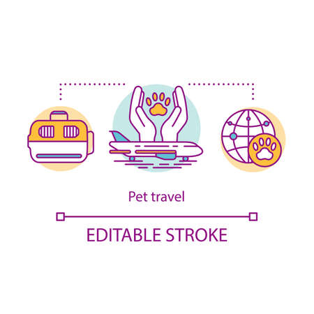 Pet travel concept icon. Dog and cat transportation idea thin line illustration. Plastic pet carrier, kennel. Airline traveling with domestic animal. Vector isolated outline drawing. Editable stroke