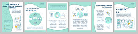 Household and electronic devices service brochure template layout. Vector page layouts for magazine, annual reports, advertising posters. Flyer, booklet, leaflet print design with linear illustrations