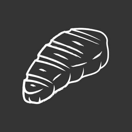 Meat steak chalk icon. Butcher shop product. Restaurant, grill bar, steakhouse menu. Farming meat. Grilled, barbecue food. Meat cookery. Isolated vector chalkboard illustration Çizim
