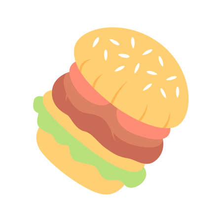 Burger flat design long shadow color icon. Fast food cafe, restaurant, snack bar menu. Hamburger, cheeseburger, vegan burger. Quick meal. Sandwich, patty and sesame bun. Vector silhouette illustration