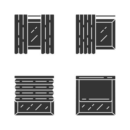 Window coverings and curtains glyph icons set. Panel pair, tracks, pleated blinds, roller shades. Interior design, home decor shop. Silhouette symbols. Vector isolated illustration
