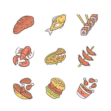 Restaurant menu color icons set. Fast food, italian and mediterranean cuisine. Pizza, lobster, steak, burger, sushi, sausages, chicken legs. Isolated vector illustrations