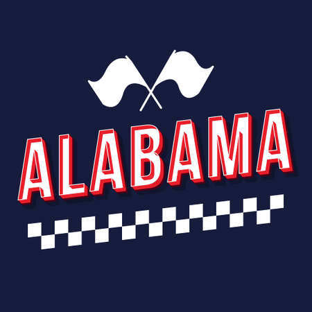 Alabama vintage 3d vector lettering. Retro bold font, typeface. Pop art stylized text. Old school style letters. 90s, 80s poster, banner, t shirt typography design. Dark blue color background