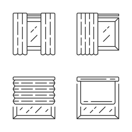 Window coverings and curtains linear icons set. Panel pair, tracks, pleated blinds, roller shades. Home decor shop. Thin line contour symbols. Isolated vector outline illustrations. Editable stroke