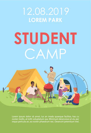 Student camp brochure template. Outdoor picnic flyer, booklet, leaflet concept with flat illustrations. Vector page layout for magazine. Barbecue party advertising invitation with text space 일러스트