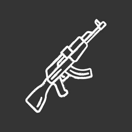 AKM weapon chalk icon. Virtual video game firearm, gun. Shooter game rifle. Cybersport, esport sniper military inventory, equipment. Isolated vector chalkboard illustration Ilustração