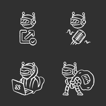 Bot types chalk icons set. Hacker, backlink checker, scraper bots. Malicious robot. Artificial intelligence, AI. Voice recognition. Computer virus. Isolated vector chalkboard illustrations