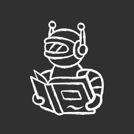 Text reading bot chalk icon. Screen reader application, translation algorithms. Virtual assistant. Robot with book. Software app. Speech synthesizer. Isolated vector chalkboard illustration