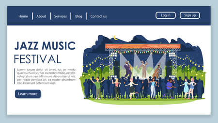 Jazz music festival landing page vector template. Night retro party website interface idea with flat illustrations. Rockabilly fest homepage layout. Night scene web banner, webpage cartoon concept