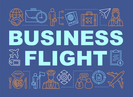 Business flight word concepts banner. International partnership. Airline travel class seating. Presentation, website. Isolated lettering typography idea with linear icons. Vector outline illustration