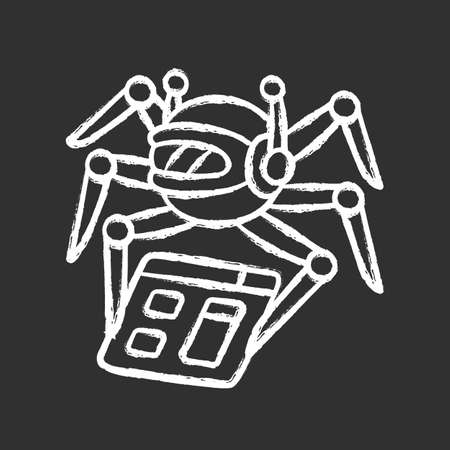 Crawler chalk icon. Spiderbot. Search engine optimization. Automatic indexer. Content monitoring. Artificial intelligence. Web indexing. Robot software. Isolated vector chalkboard illustration