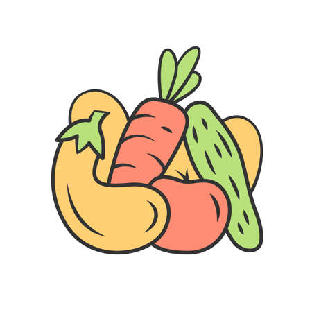 Vegetables color icon. Cucumber, tomato, carrot, eggplant. Healthy nutrition ingredient. Vitamin and diet. Vegetarian, vegan food. Agriculture plants. Isolated vector illustration 일러스트
