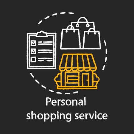 Personal shopping service chalk concept icon. Home service idea. Stylist, fashion designer. Accompanying shopping. Assistant and consultant. Vector isolated chalkboard illustration