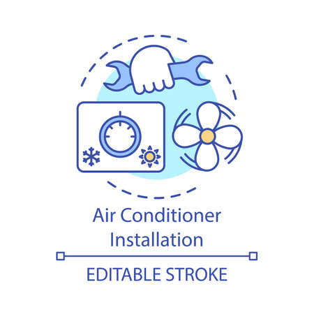 Air conditioner installation concept icon. Home service for electronic devices idea thin line illustration. Exhaust fan, cooling appliance installing. Vector isolated outline drawing. Editable stroke