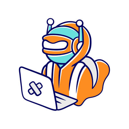Hacker bot color icon. Virus robot. Cyber pirate attack, crime, cybercrime. Computer virus. Malicious software, AI. Hacking computer. Unauthorized intrusion into network. Isolated vector illustration