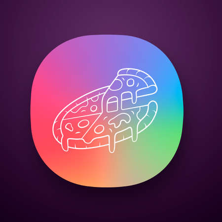 Sliced pizza app icon. Pizzeria, pizza house, restaurant, cafe menu. Traditional italian food. Fast food delivery. UIUX user interface. Web or mobile application. Vector isolated illustration