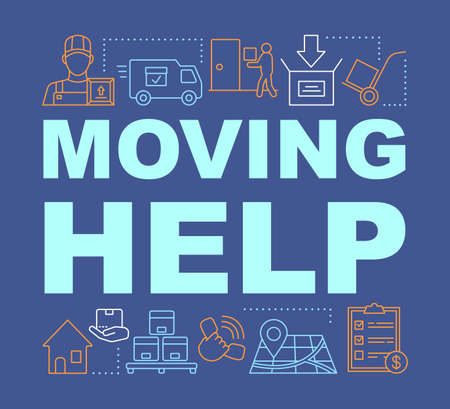 Moving help word concepts banner. Packing and unpacking boxes. Presentation, website. Loading items into truck. Isolated lettering typography idea with linear icons. Vector outline illustration
