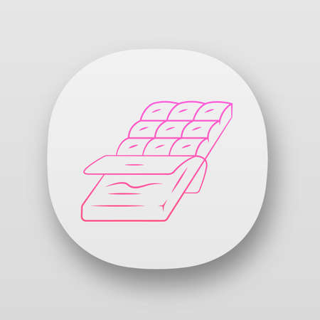 Chocolate bar app icon. Dark, milk candy. Chocolate packaging, wrapping half opened. Confectionery, pastry-shop. Toffee. UIUX user interface. Web or mobile applications. Vector isolated illustrations