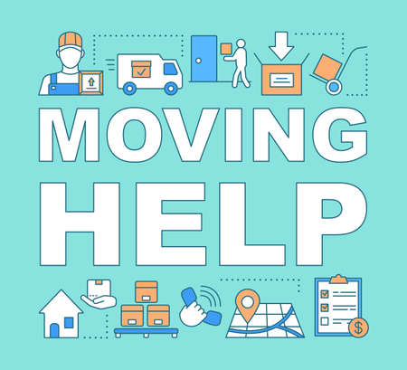 Moving help word concepts banner. Packing and unpacking boxes. Loading items into truck. Presentation, website. Isolated lettering typography idea with linear icons. Vector outline illustration Illustration