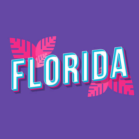 Florida vintage 3d vector lettering. Retro bold font, typeface. Pop art stylized text. Old school style letters. 90s, 80s poster, banner typography design. Pink leaves, amethyst color background