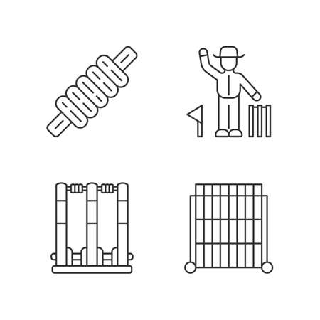 Cricket championship linear icons set. Sport competition. Bail, stumps, sight screen, umpire. Sporting gear, judge. Thin line contour symbols. Isolated vector outline illustrations. Editable stroke