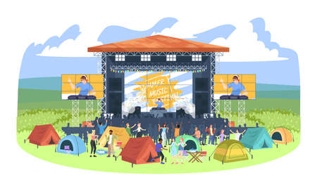 Summer camping DJ festival flat vector illustration. People at electronic music fest campground. Open air concert. Summertime fun outdoor activity. Scene, tent city, audience cartoon characters Иллюстрация