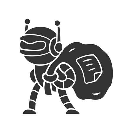 Scraper bot glyph icon. Malicious bad robot. Software program. Data collecting bot. Web scraping service. Artificial intelligence. Silhouette symbol. Negative space. Vector isolated illustration