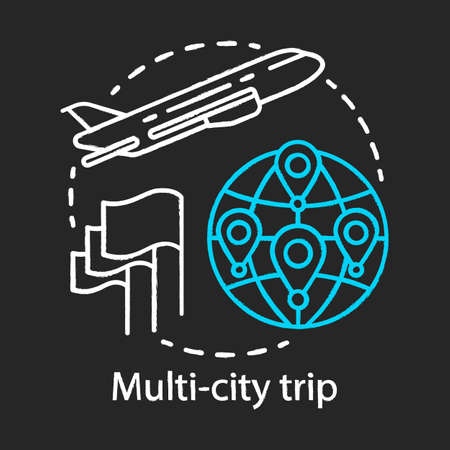 Multi-city trip chalk icon. Flights with multiple destinations. Vacation, tourism, tour. Airplane traveling. Airline ticket. City stopovers. Plane flying up. Isolated vector chalkboard illustration 向量圖像