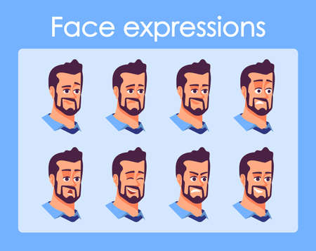 Bearded man cartoon character faces vector set. Businessman with different facial expressions flat illustrations. Avatar various emotions, moods. Person isolated heads, portraits for animation pack Illustration