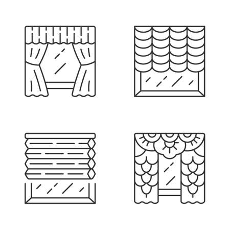 Window blinds linear icons set. Austrian, cellular shades, lace curtains, window treatment set. House interior design. Thin line contour symbols. Isolated vector outline illustrations. Editable stroke Illusztráció