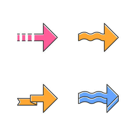 Forward arrows color icons set. Dotted, wavy, folding next, forward arrows. Rightward direction. Indicating arrowhead. Navigation symbol. Pointing sign. Motion. Isolated vector illustrations