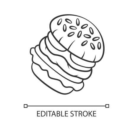 Burger linear icon. Fast food cafe, restaurant menu. Hamburger, cheeseburger, vegan burger. Sesame bun. Thin line illustration. Contour symbol. Vector isolated outline drawing. Editable stroke
