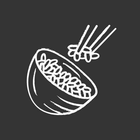 Rice chalk icon. Japanese food. Bowl with white rice. Sushi, spring rolls ingredient. Natural, organic food. Italian cuisine, risotto.Isolated vector chalkboard illustration Фото со стока - 129559013