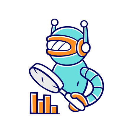 Monitoring bot color icon. Monitor websites uptime. Analytics and search automation. Machine learning. Artificial intelligence. Internet robot with magnifying glass. Isolated vector illustration