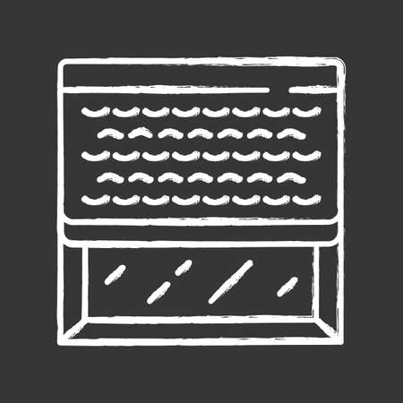 Woven wood shades chalk icon. Kitchen, living room darkening decoration. Window blinds. Home, office interior accessory. Window covering, motorized jalousie. Isolated vector chalkboard illustration