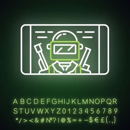Mobile game neon light icon. Shooter smartphone game. Telephone screen with game soldier, warrior, player. Cybersport, esport. Glowing alphabet, numbers and symbols. Vector isolated illustration