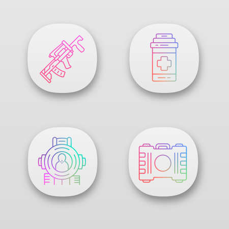 Online game inventory app icon set. Battle royale. Computer game equipment. Weapon, painkiller, shooting aim, container. UIUX user interface. Web or mobile applications. Vector isolated illustrations  イラスト・ベクター素材
