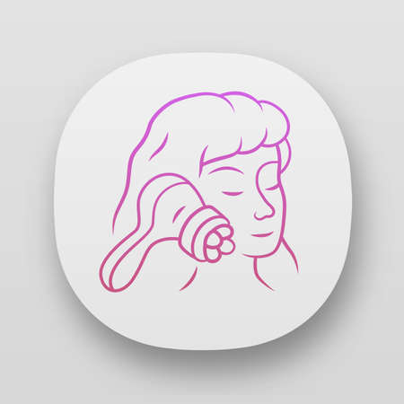 Face massager app icon. Beauty device for home use. Cosmetology instrument. Skin care. Beauty parlour spa procedure. UIUX user interface. Web or mobile applications. Vector isolated illustrations