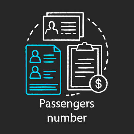 Passenger number chalk icon. Reservation system. Record database. Airline and travel industry. Plane ticket. Passenger personal information. Service prices. Isolated vector chalkboard illustration  イラスト・ベクター素材