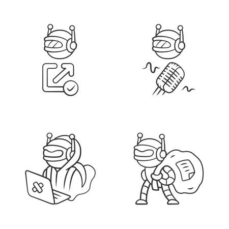 Bot types linear icons set. Hacker, backlink checker, scraper bots. Malicious robot. Artificial intelligence, AI. Thin line contour symbols. Isolated vector outline illustrations. Editable stroke