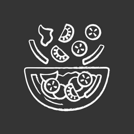 Salad bowl chalk icon. Fresh organic food. Vegan eating, vegetables. Healthy nutrition. Vitamin and diet. Tomato, bell pepper, cucumber. Isolated vector chalkboard illustration