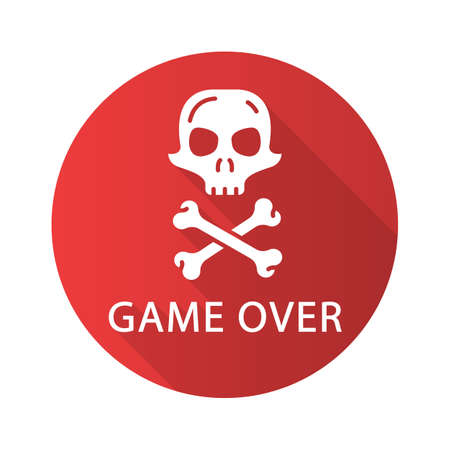 Game over flat design long shadow glyph icon. Virtual video game level finish, failure. Skull with crossbones. Esports, cybersports sign. Computer game fail, loser. Vector silhouette illustration Ilustração