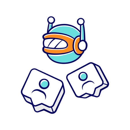 Social bot color icon. Socialbot, chatbot. SMM automation tool. Software program. Automatically generating messages. Network communication. Online help service. Isolated vector illustration Ilustrace