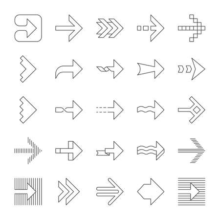 Arrow types linear icons set. Wavy, notched, striped double, arrowheads. Dotted, twisted next arrows. Navigation sign. Thin line contour symbols. Isolated vector outline illustrations. Editable stroke