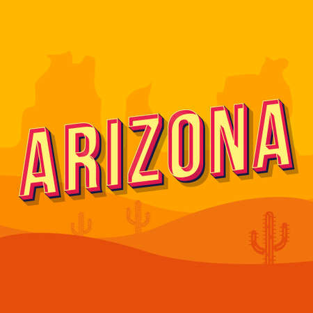 Arizona vintage 3d vector lettering. Retro bold font, typeface. Pop art stylized text. Old school style letters. 90s, 80s poster, banner, t shirt typography design. Orange desert color background