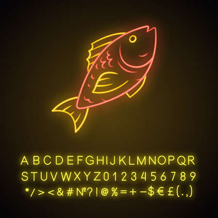 Fish neon light icon. Cafe, restaurant menu. Fish species. Underwater animal, seafood. Carp, trout. Healthy nutrition. Glowing sign with alphabet, numbers and symbols. Vector isolated illustration Standard-Bild - 128696304