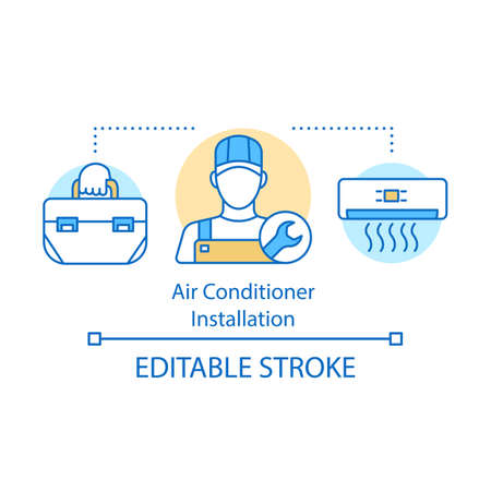 Air conditioner installation concept icon. Master split system installer. Handyman work. Handyperson. Home service idea thin line illustration. Vector isolated outline drawing. Editable stroke